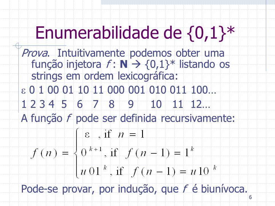 Enumerabilidade de {0,1}*