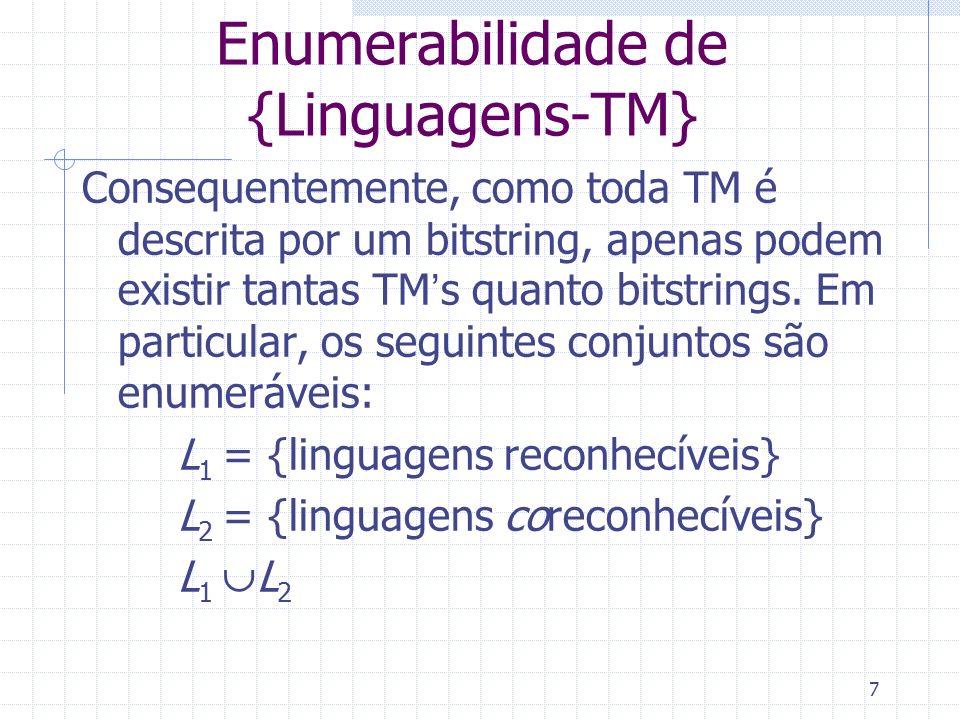 Enumerabilidade de {Linguagens-TM}