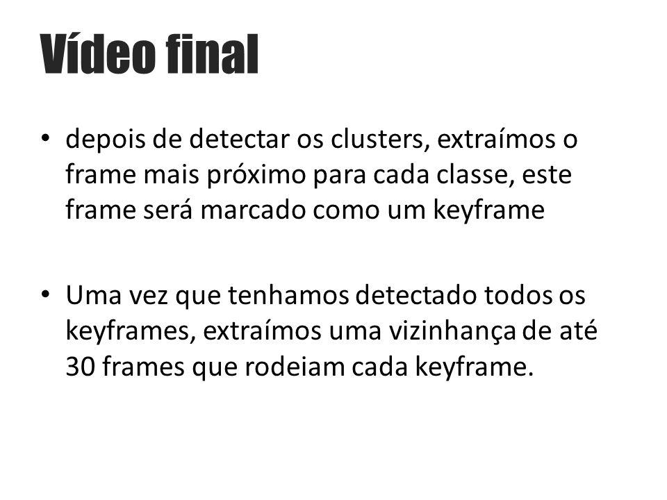 Vídeo final depois de detectar os clusters, extraímos o frame mais próximo para cada classe, este frame será marcado como um keyframe.