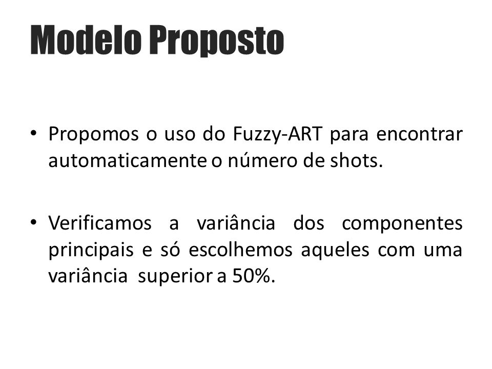 Modelo Proposto Propomos o uso do Fuzzy-ART para encontrar automaticamente o número de shots.