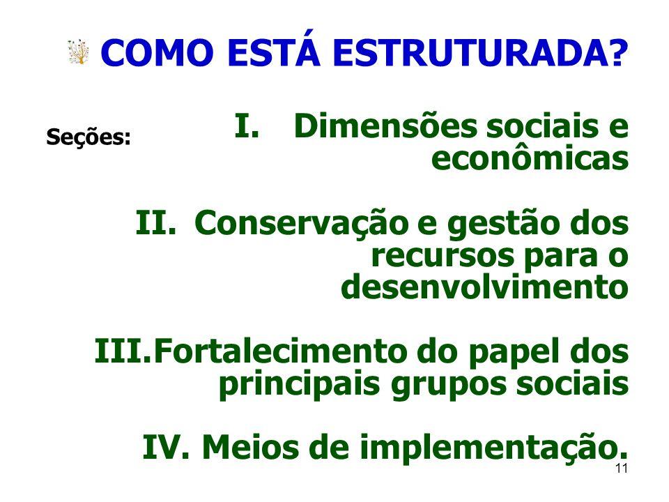 COMO ESTÁ ESTRUTURADA Dimensões sociais e econômicas