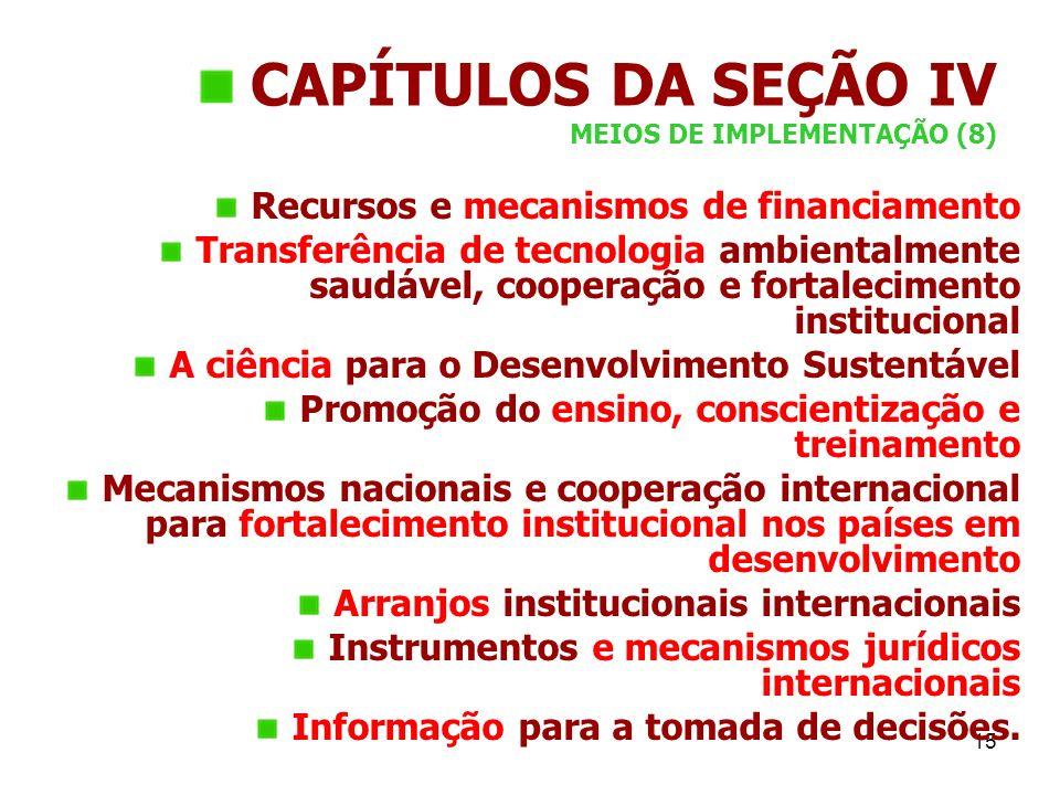 CAPÍTULOS DA SEÇÃO IV MEIOS DE IMPLEMENTAÇÃO (8)