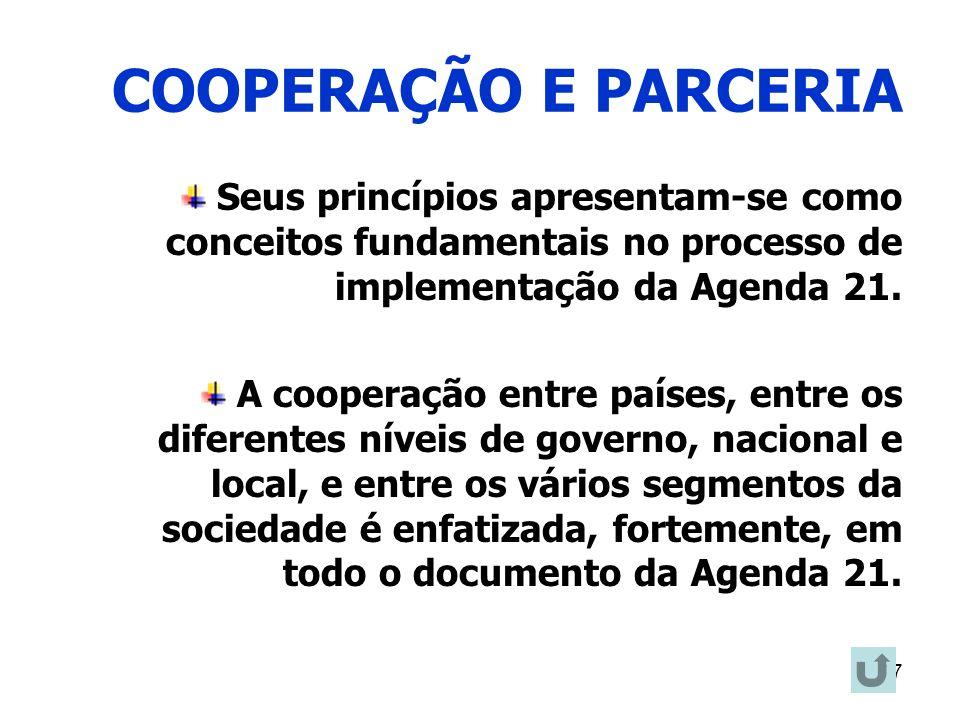 COOPERAÇÃO E PARCERIA Seus princípios apresentam-se como conceitos fundamentais no processo de implementação da Agenda 21.