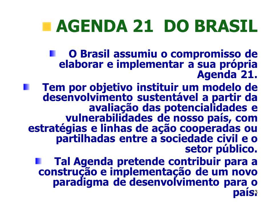 AGENDA 21 DO BRASIL O Brasil assumiu o compromisso de elaborar e implementar a sua própria Agenda 21.