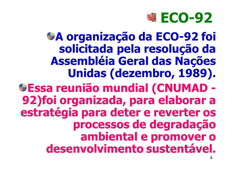 ECO-92 A organização da ECO-92 foi solicitada pela resolução da Assembléia Geral das Nações Unidas (dezembro, 1989).