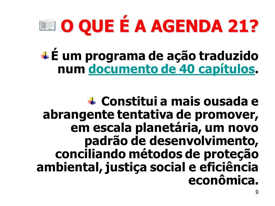 O QUE É A AGENDA 21 É um programa de ação traduzido num documento de 40 capítulos.