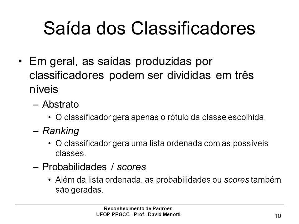 Saída dos Classificadores