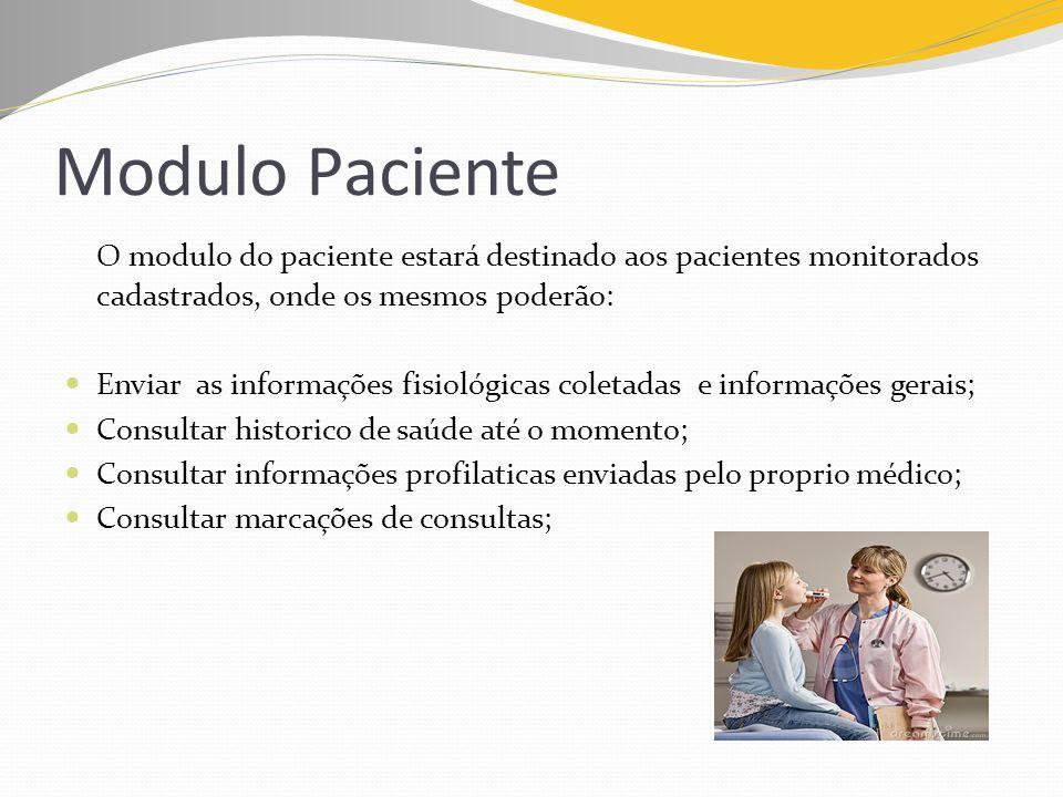 Modulo Paciente O modulo do paciente estará destinado aos pacientes monitorados cadastrados, onde os mesmos poderão: