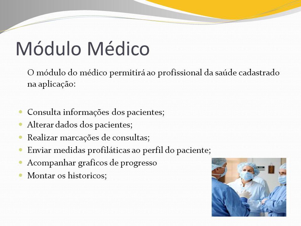Módulo MédicoO módulo do médico permitirá ao profissional da saúde cadastrado na aplicação: Consulta informações dos pacientes;