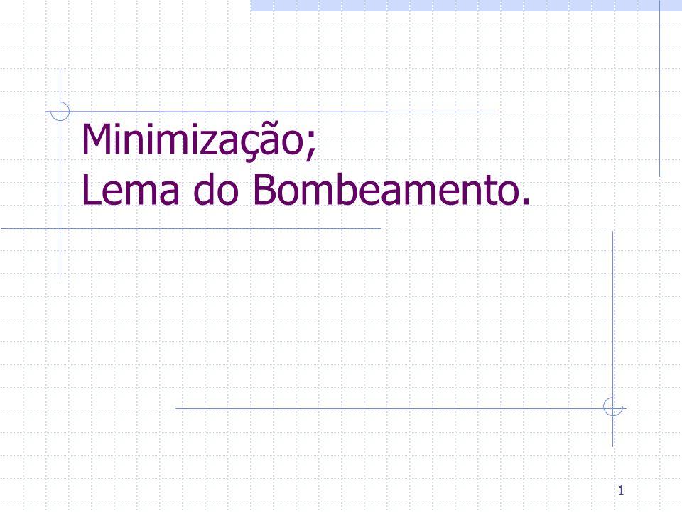 Minimização; Lema do Bombeamento.
