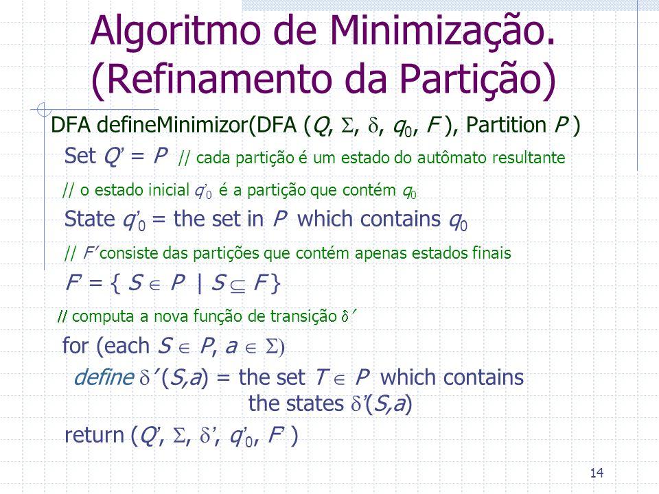 Algoritmo de Minimização. (Refinamento da Partição)