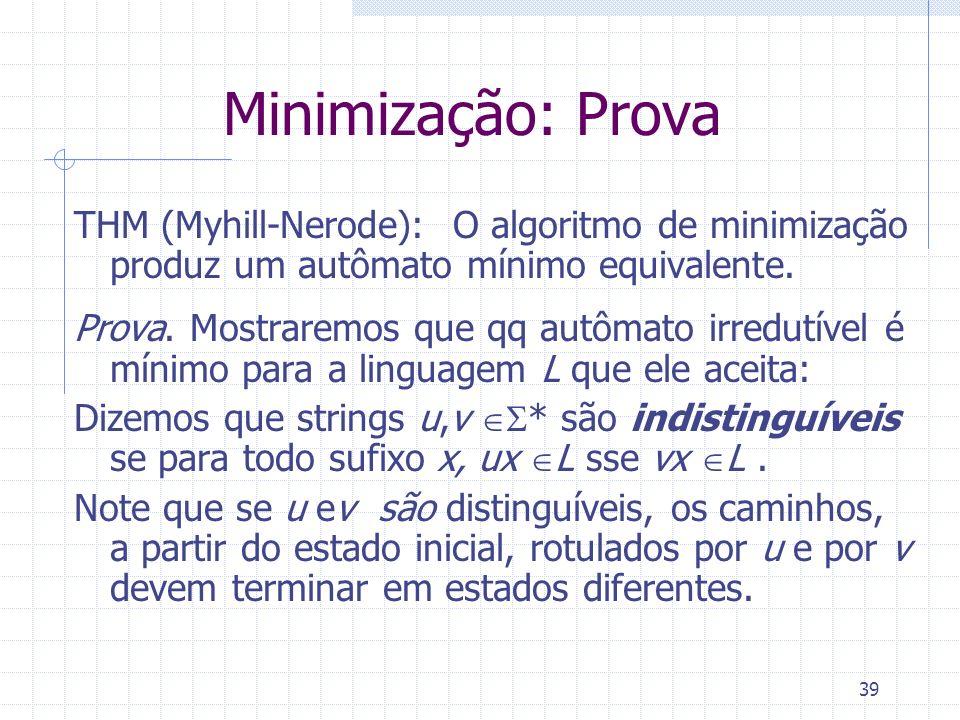 Minimização: Prova THM (Myhill-Nerode): O algoritmo de minimização produz um autômato mínimo equivalente.