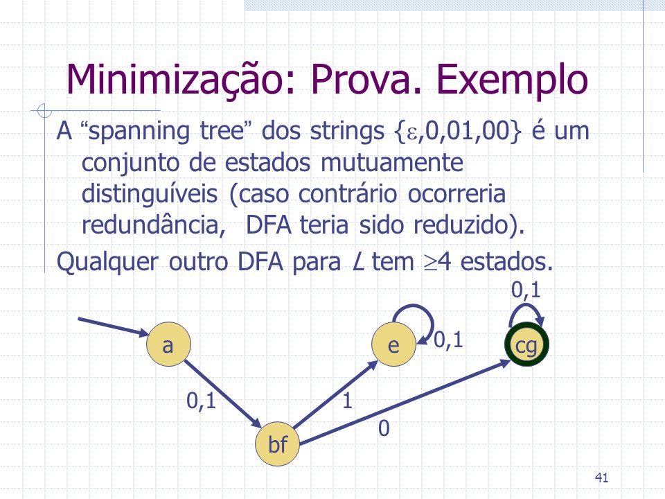 Minimização: Prova. Exemplo