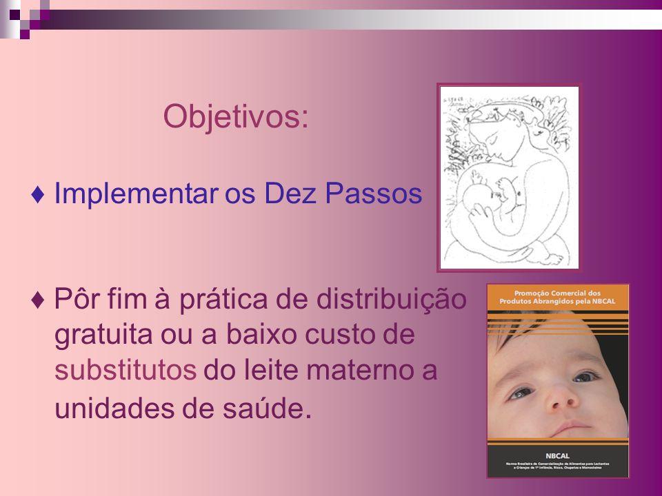 Objetivos: ♦ Implementar os Dez Passos ♦ Pôr fim à prática de distribuição gratuita ou a baixo custo de substitutos do leite materno a unidades de saúde.