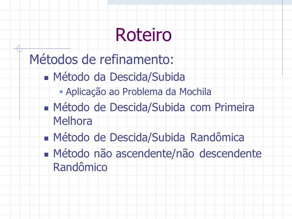 Roteiro Métodos de refinamento: Método da Descida/Subida