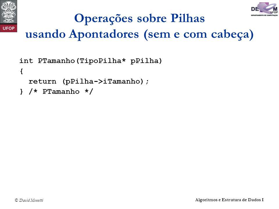 Operações sobre Pilhas usando Apontadores (sem e com cabeça)