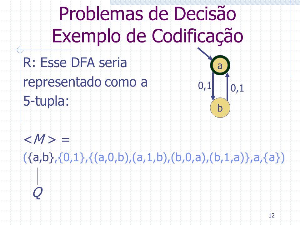 Problemas de Decisão Exemplo de Codificação