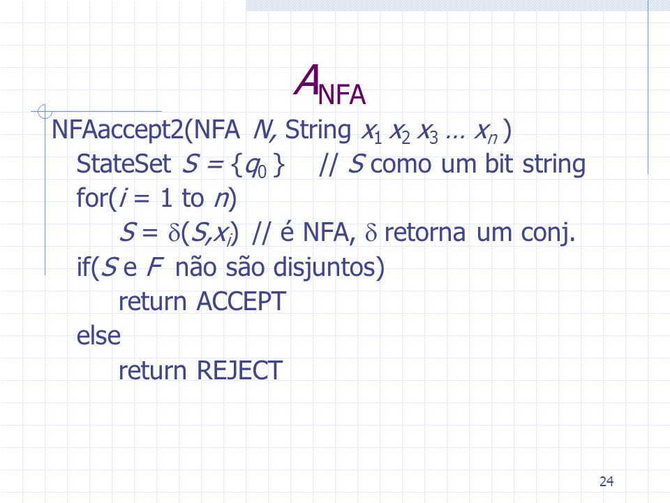 ANFA NFAaccept2(NFA N, String x1 x2 x3 … xn )