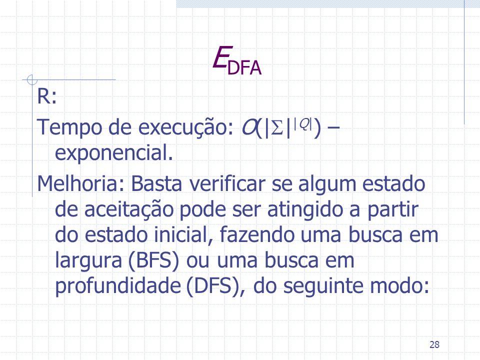 EDFA R: Tempo de execução: O(|S||Q|) –exponencial.