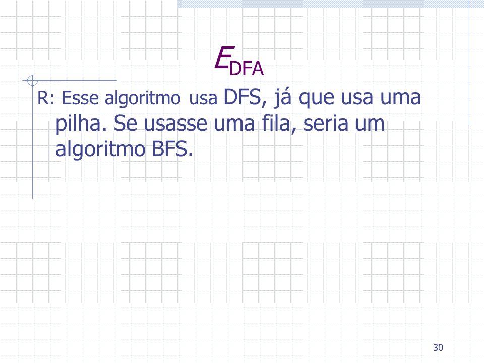 EDFA R: Esse algoritmo usa DFS, já que usa uma pilha. Se usasse uma fila, seria um algoritmo BFS.
