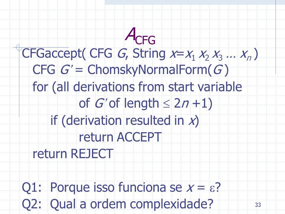 ACFG CFGaccept( CFG G, String x=x1 x2 x3 … xn )