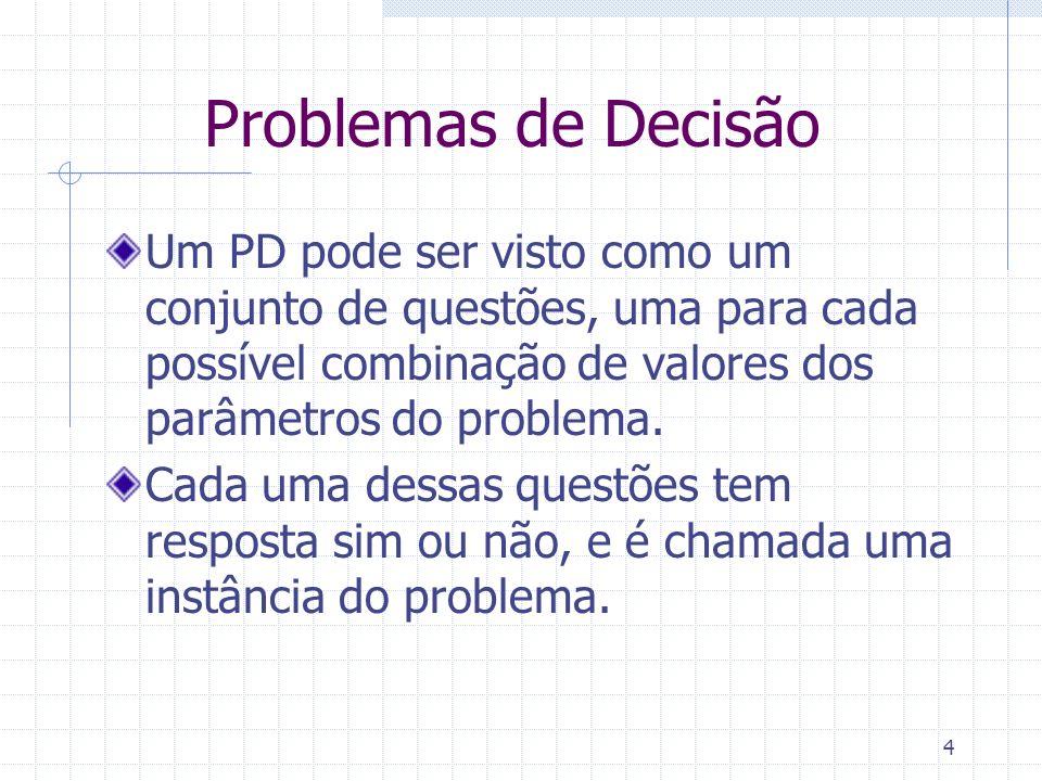 Problemas de Decisão Um PD pode ser visto como um conjunto de questões, uma para cada possível combinação de valores dos parâmetros do problema.