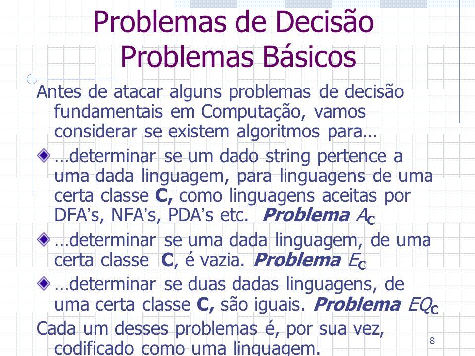 Problemas de Decisão Problemas Básicos