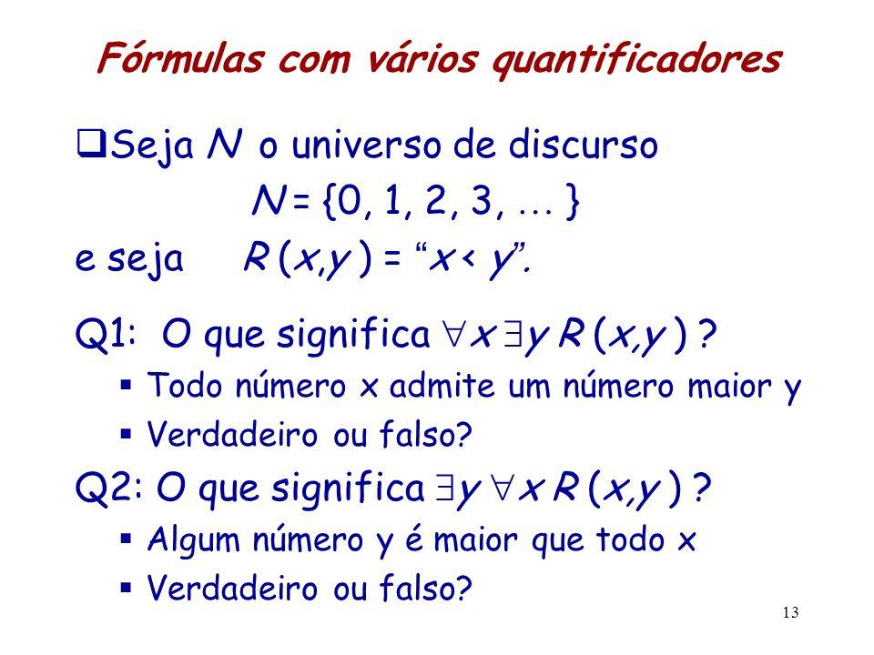 Fórmulas com vários quantificadores