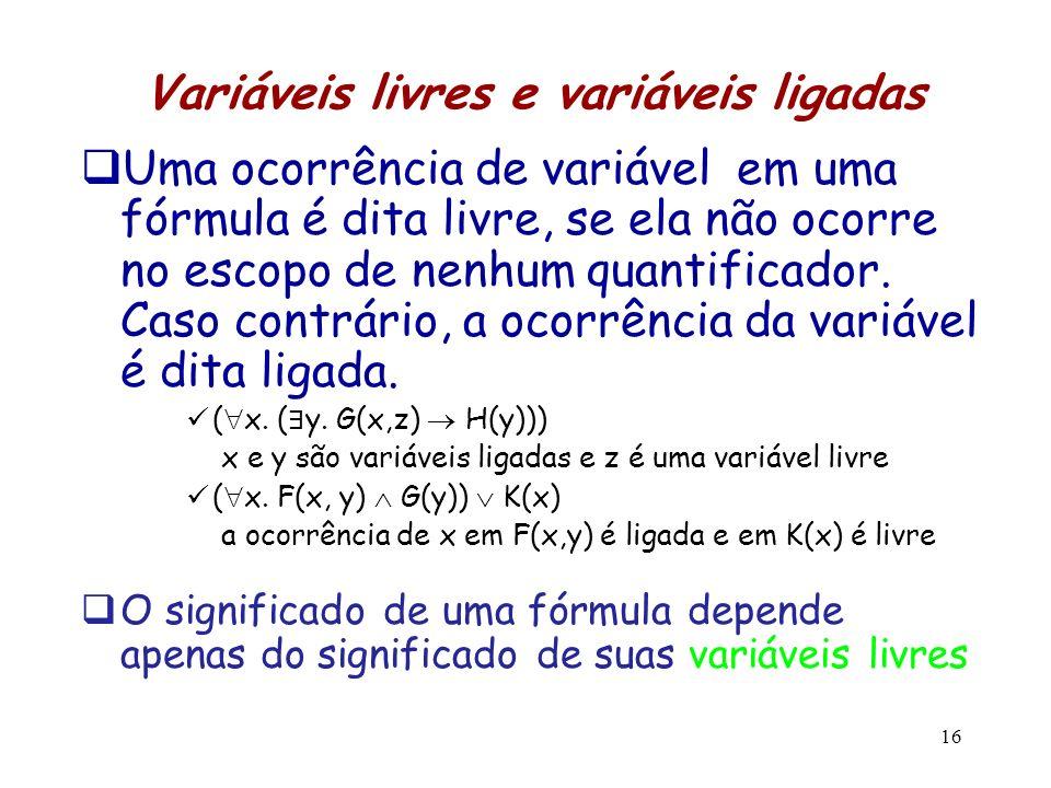 Variáveis livres e variáveis ligadas
