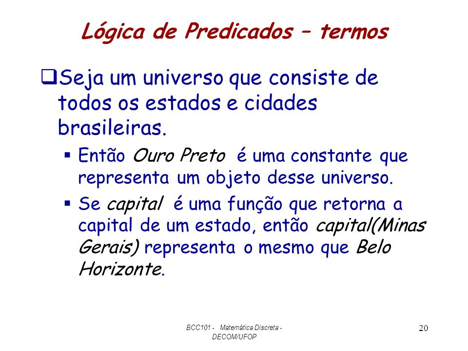 Lógica de Predicados – termos