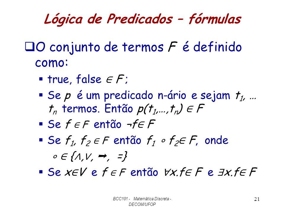 Lógica de Predicados – fórmulas