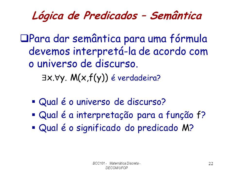 Lógica de Predicados – Semântica