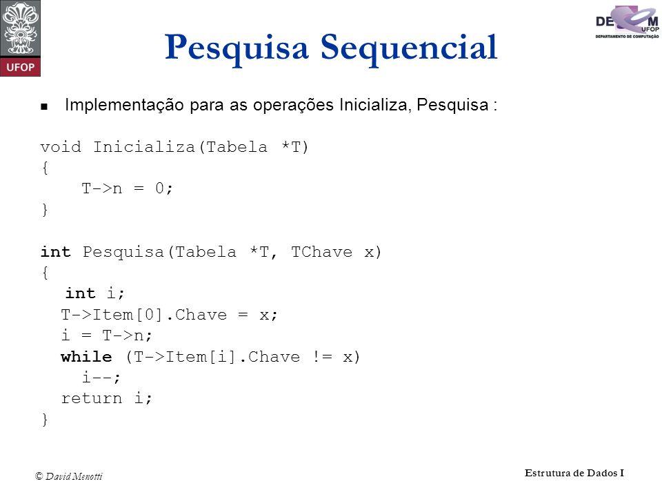 Pesquisa Sequencial Implementação para as operações Inicializa, Pesquisa : void Inicializa(Tabela *T)