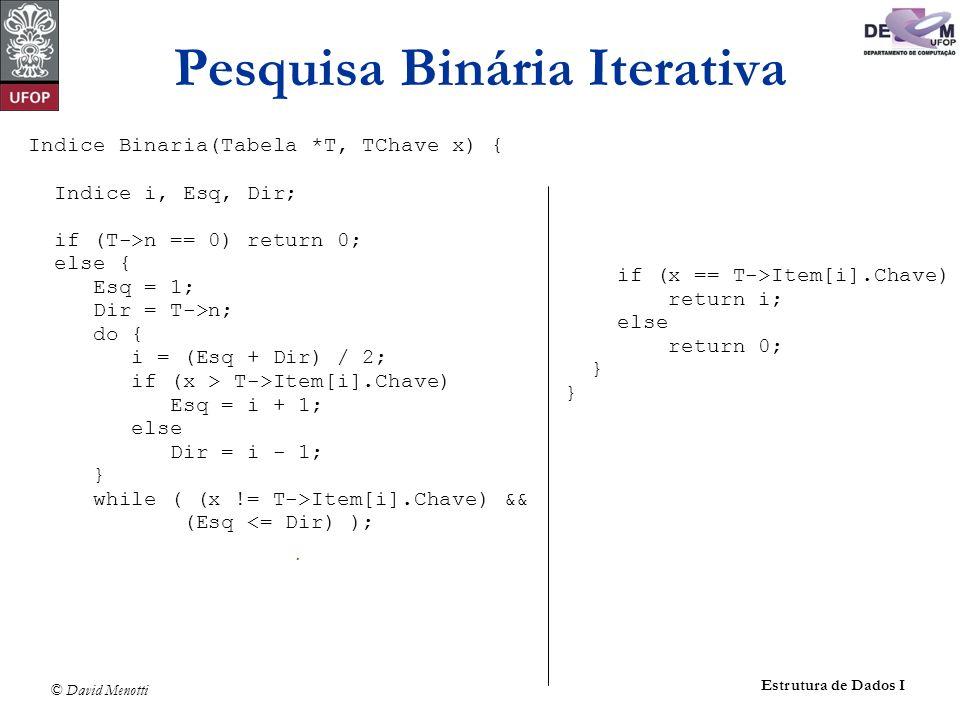 Pesquisa Binária Iterativa