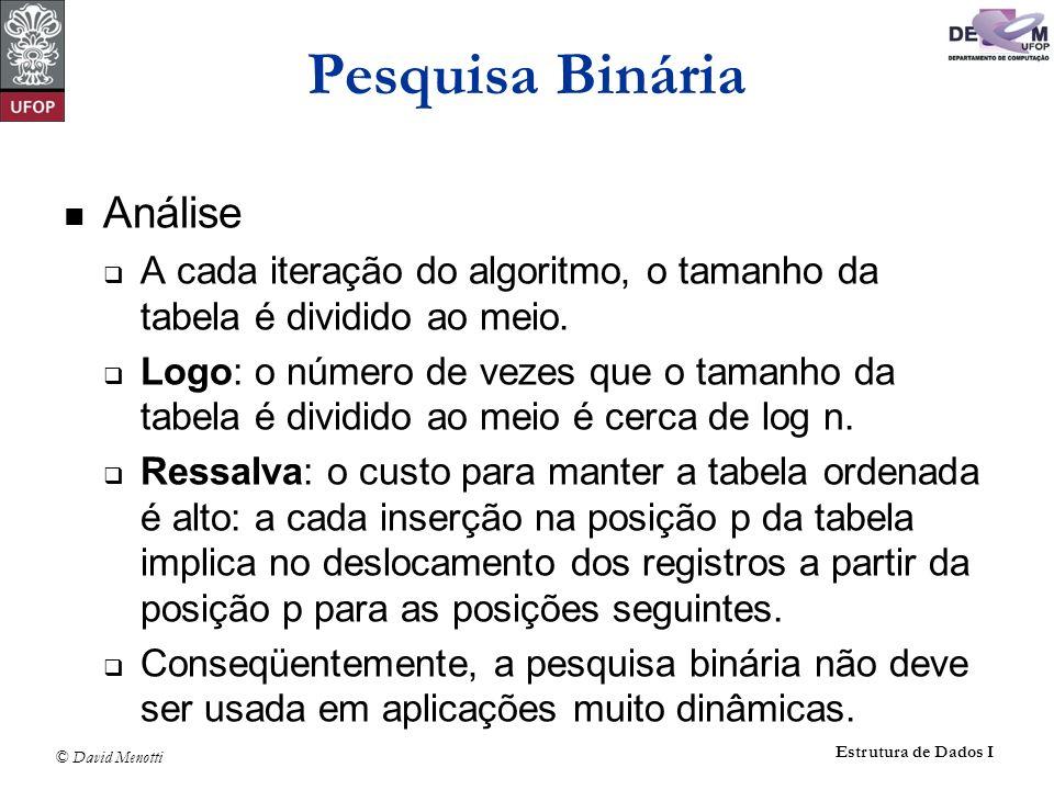 Pesquisa Binária Análise