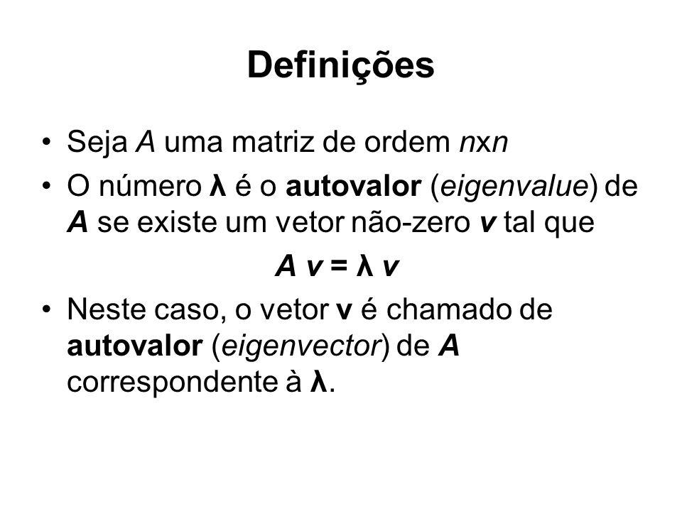 Definições Seja A uma matriz de ordem nxn