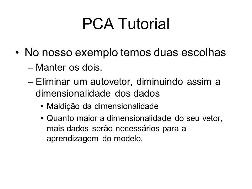 PCA Tutorial No nosso exemplo temos duas escolhas Manter os dois.