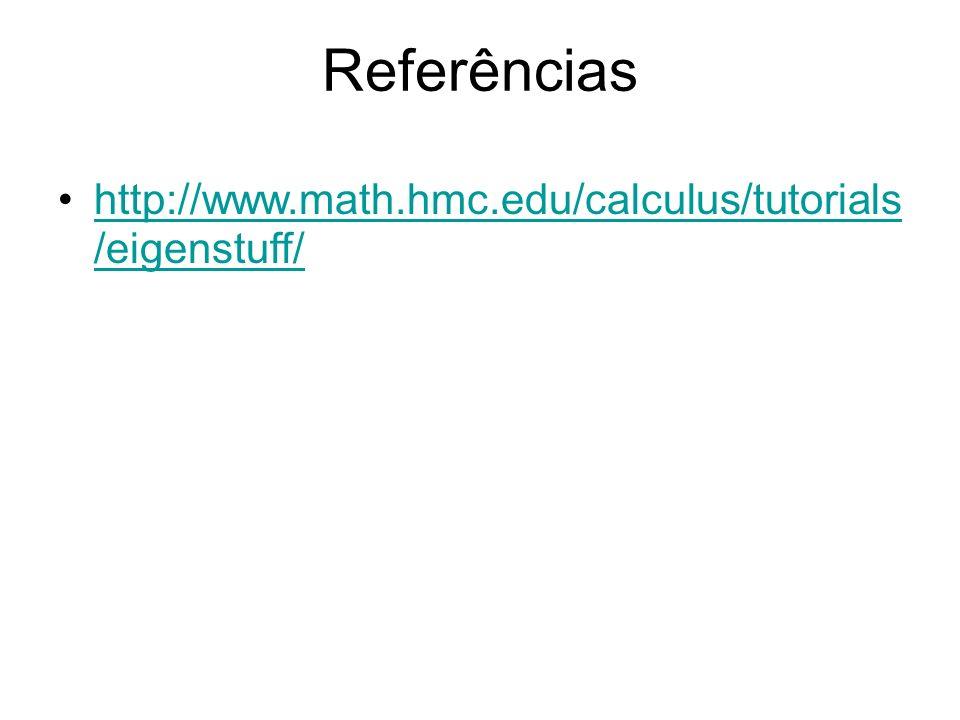 Referências http://www.math.hmc.edu/calculus/tutorials/eigenstuff/