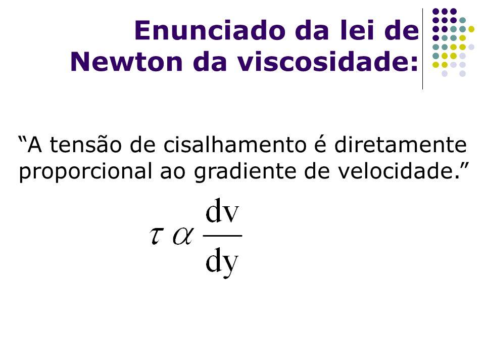 Enunciado da lei de Newton da viscosidade: