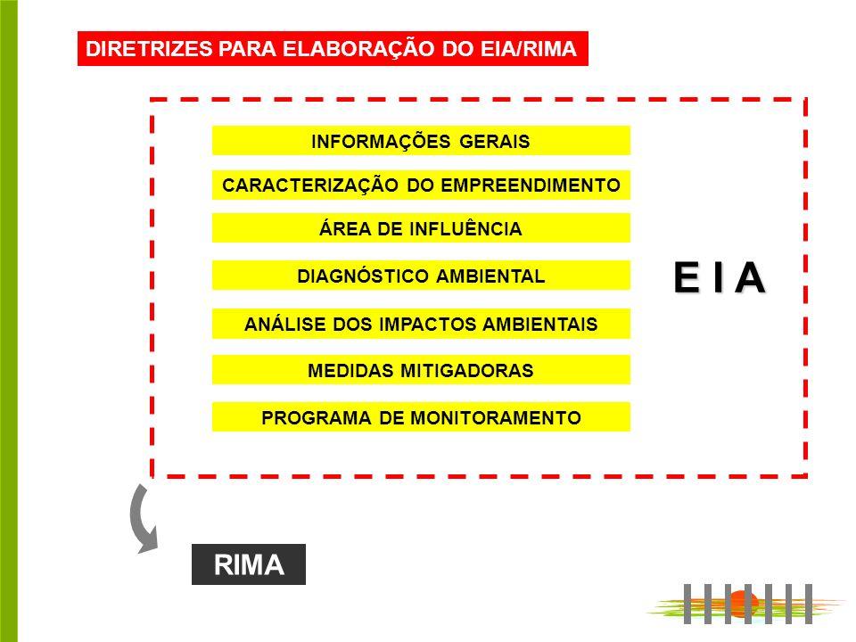 E I A RIMA DIRETRIZES PARA ELABORAÇÃO DO EIA/RIMA INFORMAÇÕES GERAIS