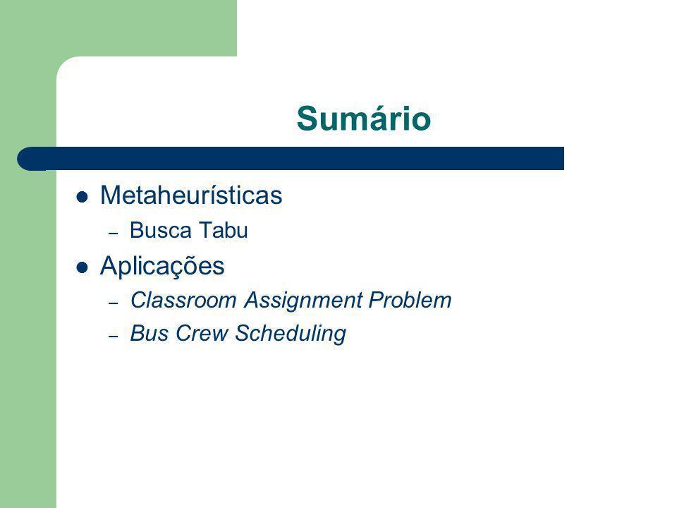 Sumário Metaheurísticas Aplicações Busca Tabu