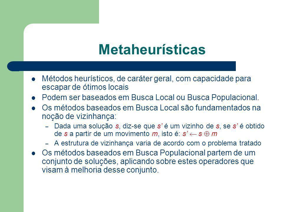 Metaheurísticas Métodos heurísticos, de caráter geral, com capacidade para escapar de ótimos locais.
