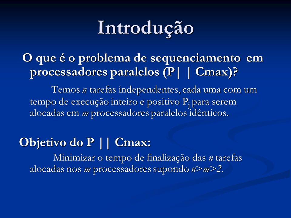 Introdução O que é o problema de sequenciamento em processadores paralelos (P| | Cmax)