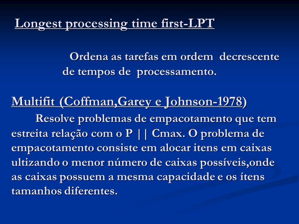 Longest processing time first-LPT Ordena as tarefas em ordem decrescente de tempos de processamento.