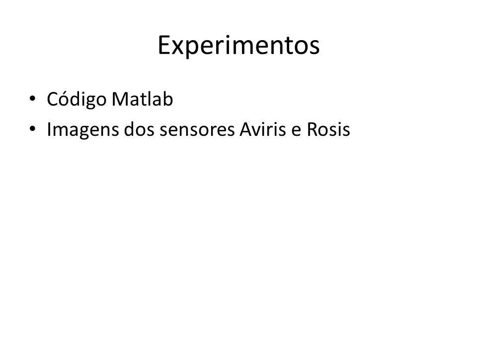 Experimentos Código Matlab Imagens dos sensores Aviris e Rosis