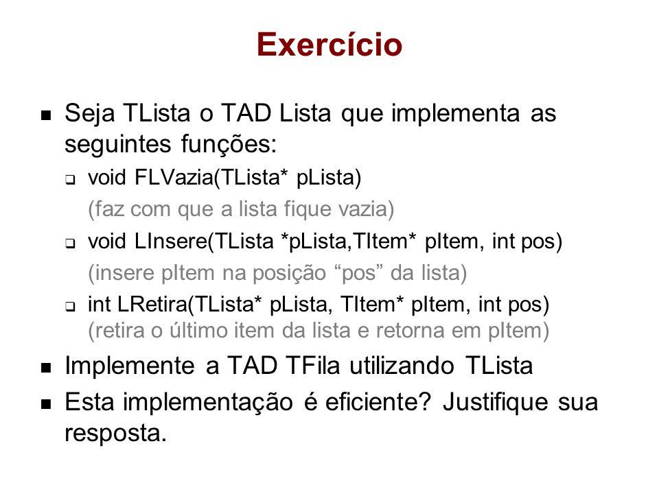Exercício Seja TLista o TAD Lista que implementa as seguintes funções:
