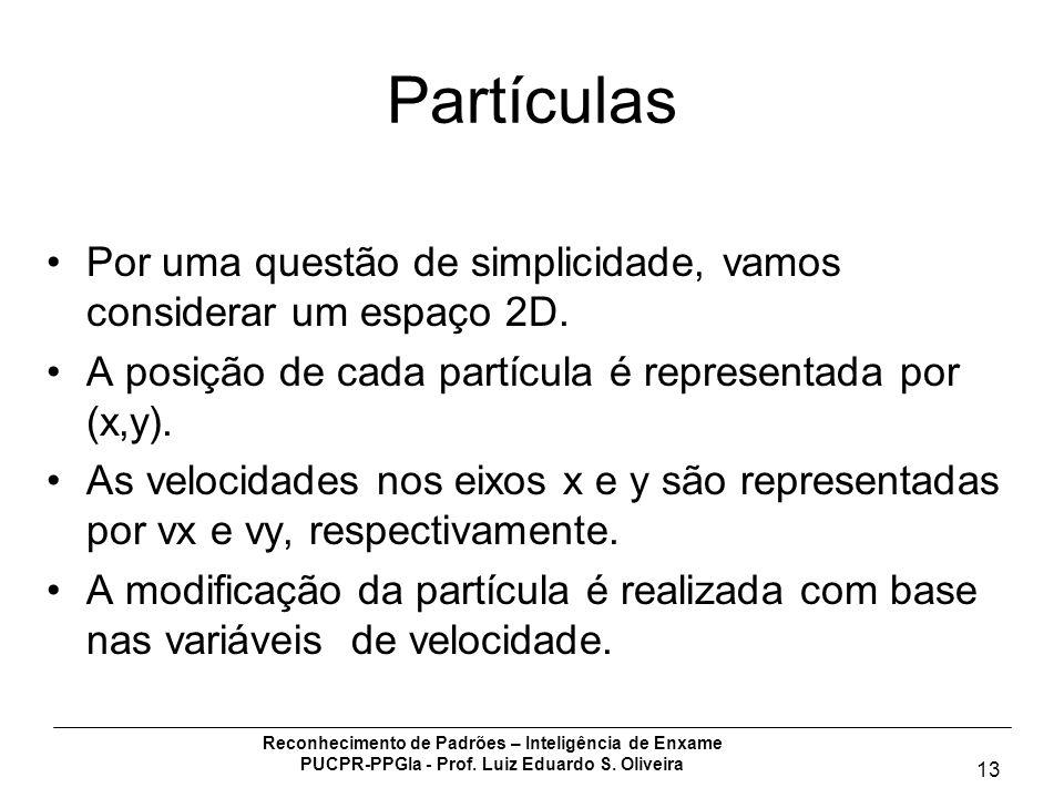 Partículas Por uma questão de simplicidade, vamos considerar um espaço 2D. A posição de cada partícula é representada por (x,y).
