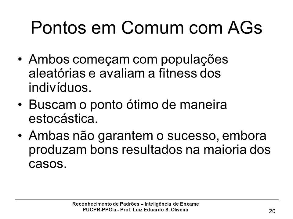 Pontos em Comum com AGs Ambos começam com populações aleatórias e avaliam a fitness dos indivíduos.