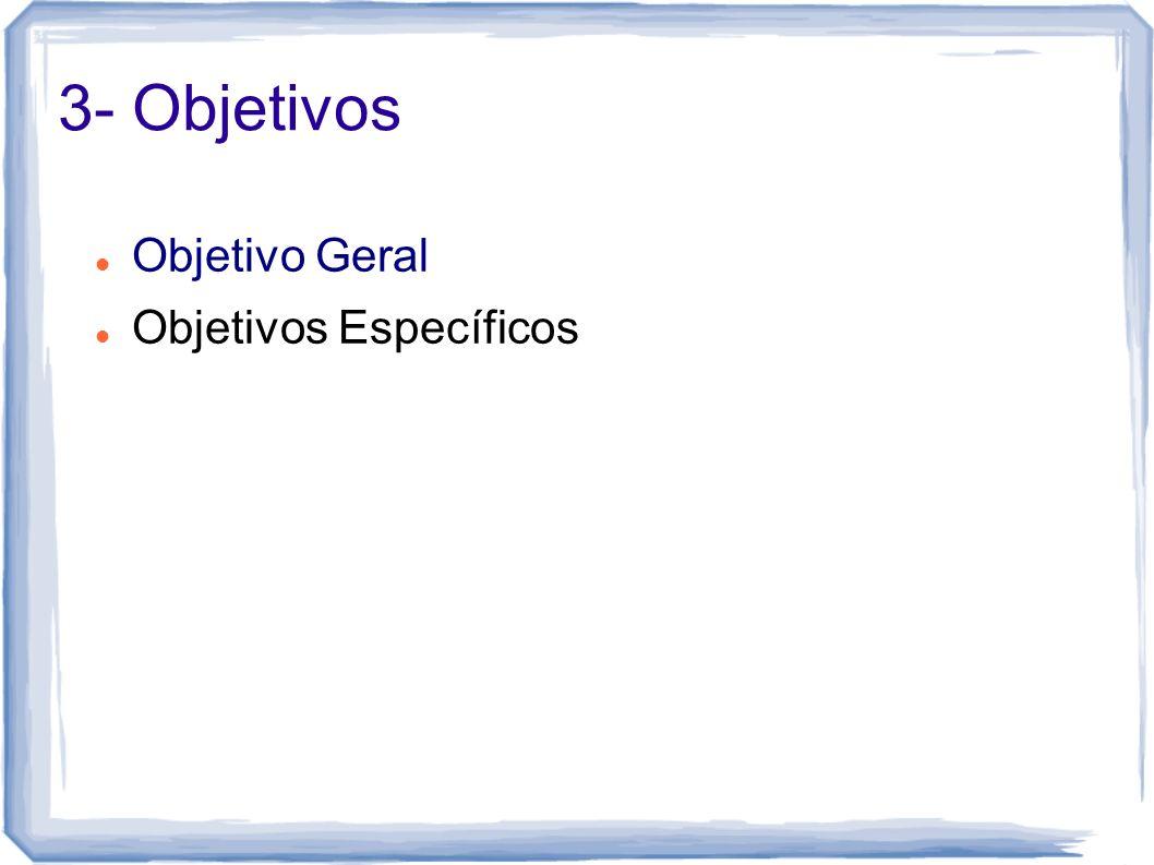 3- Objetivos Objetivo Geral Objetivos Específicos