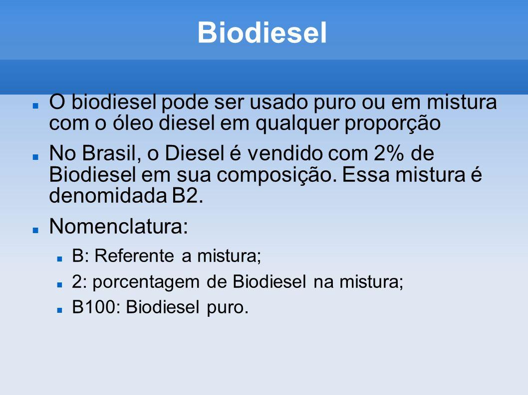 Biodiesel O biodiesel pode ser usado puro ou em mistura com o óleo diesel em qualquer proporção.
